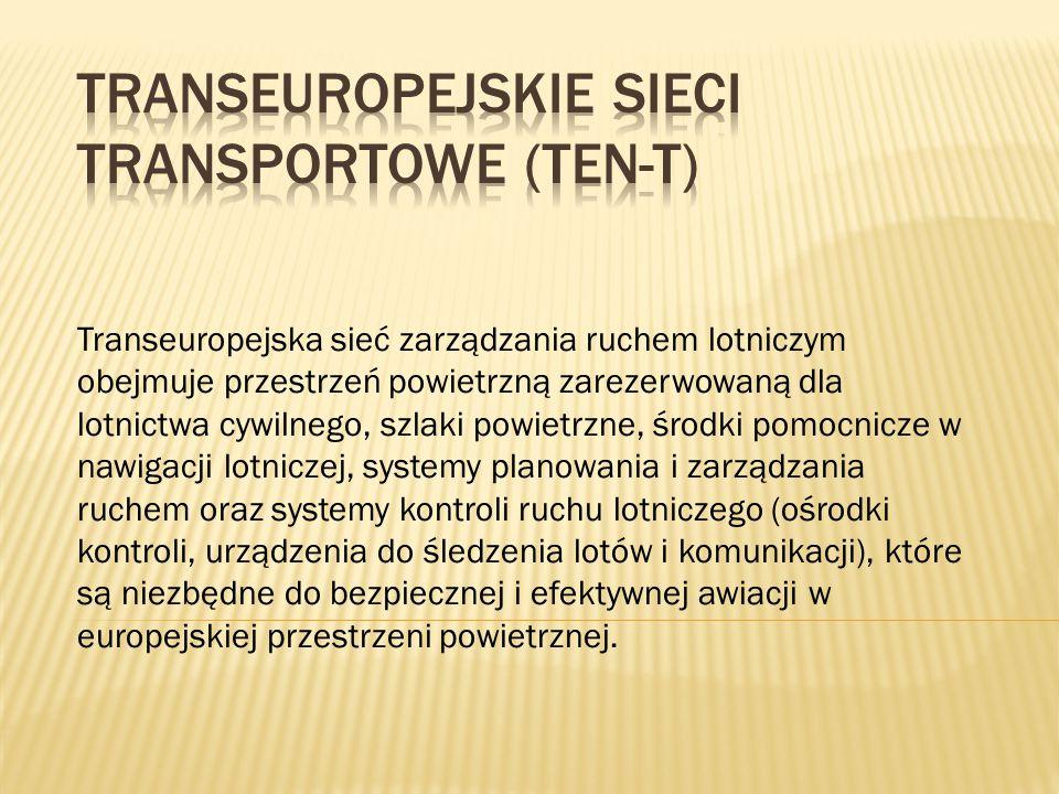 Transeuropejska sieć zarządzania ruchem lotniczym obejmuje przestrzeń powietrzną zarezerwowaną dla lotnictwa cywilnego, szlaki powietrzne, środki pomo