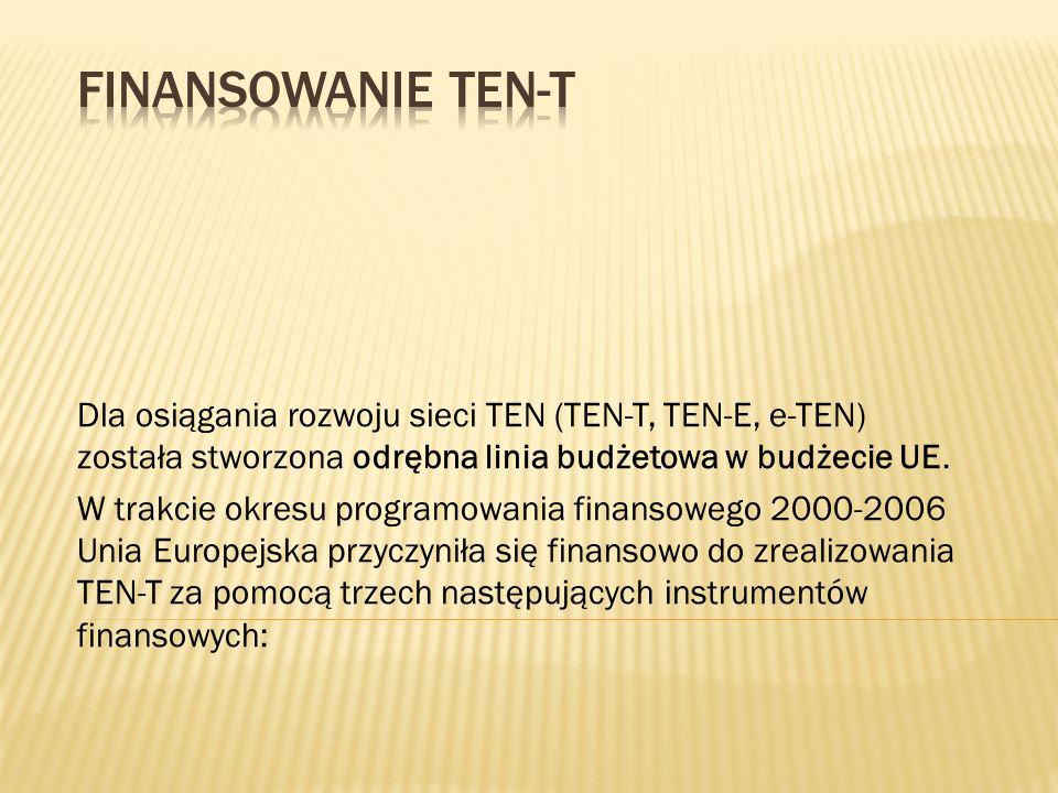 Dla osiągania rozwoju sieci TEN (TEN-T, TEN-E, e-TEN) została stworzona odrębna linia budżetowa w budżecie UE. W trakcie okresu programowania finansow