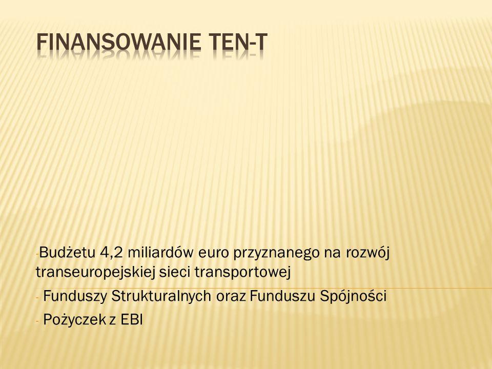 - Budżetu 4,2 miliardów euro przyznanego na rozwój transeuropejskiej sieci transportowej - Funduszy Strukturalnych oraz Funduszu Spójności - Pożyczek