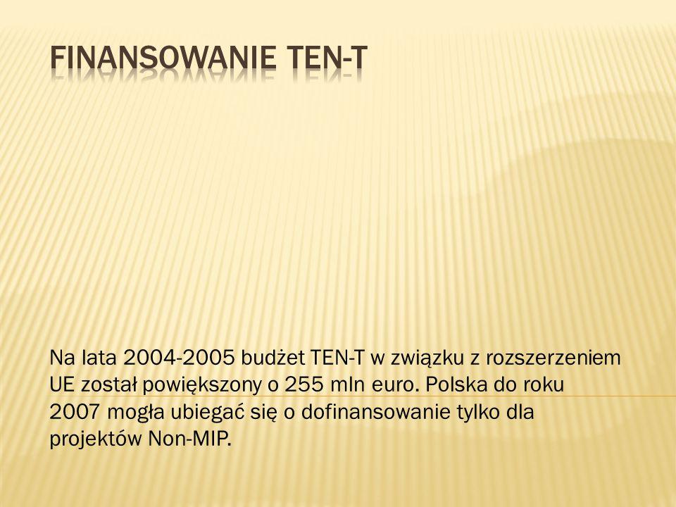 Na lata 2004-2005 budżet TEN-T w związku z rozszerzeniem UE został powiększony o 255 mln euro. Polska do roku 2007 mogła ubiegać się o dofinansowanie