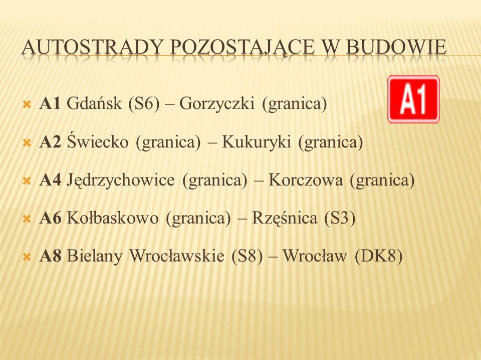  A1 Gdańsk (S6) – Gorzyczki (granica)  A2 Świecko (granica) – Kukuryki (granica)  A4 Jędrzychowice (granica) – Korczowa (granica)  A6 Kołbaskowo (
