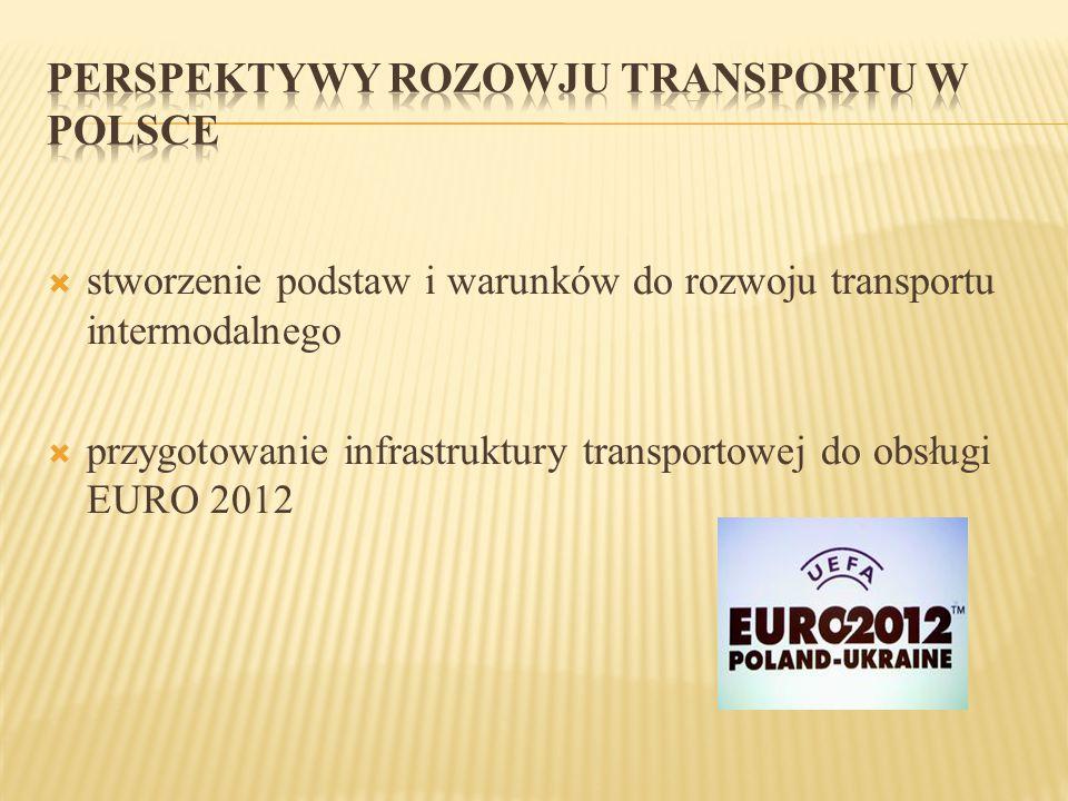  stworzenie podstaw i warunków do rozwoju transportu intermodalnego  przygotowanie infrastruktury transportowej do obsługi EURO 2012