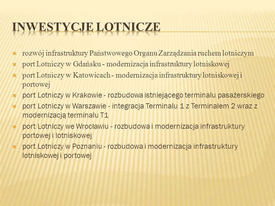  rozwój infrastruktury Państwowego Organu Zarządzania ruchem lotniczym  port Lotniczy w Gdańsku - modernizacja infrastruktury lotniskowej  port Lot