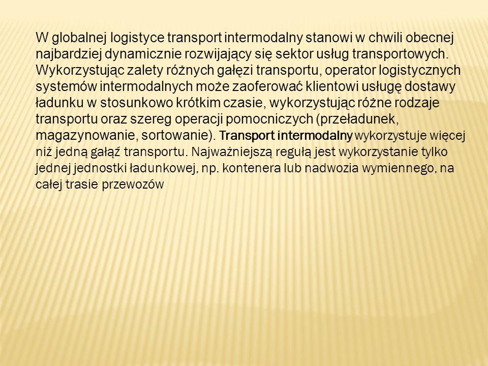W globalnej logistyce transport intermodalny stanowi w chwili obecnej najbardziej dynamicznie rozwijający się sektor usług transportowych. Wykorzystuj