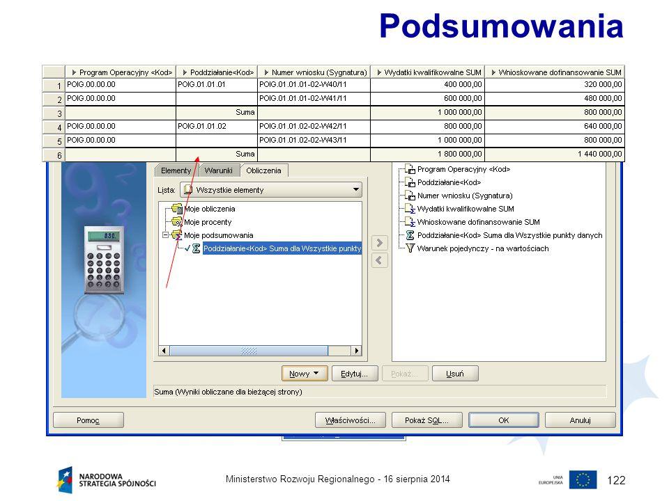 16 sierpnia 2014Ministerstwo Rozwoju Regionalnego - 122 Podsumowania Za pomocą podsumowań w Oracle Discoverer m.in. można obliczyć: sumę wartości (sum