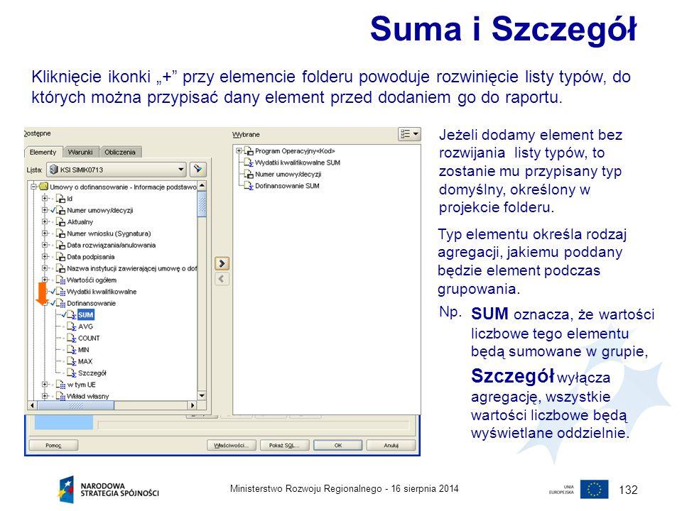 """16 sierpnia 2014Ministerstwo Rozwoju Regionalnego - 132 Suma i Szczegół Kliknięcie ikonki """"+"""" przy elemencie folderu powoduje rozwinięcie listy typów,"""