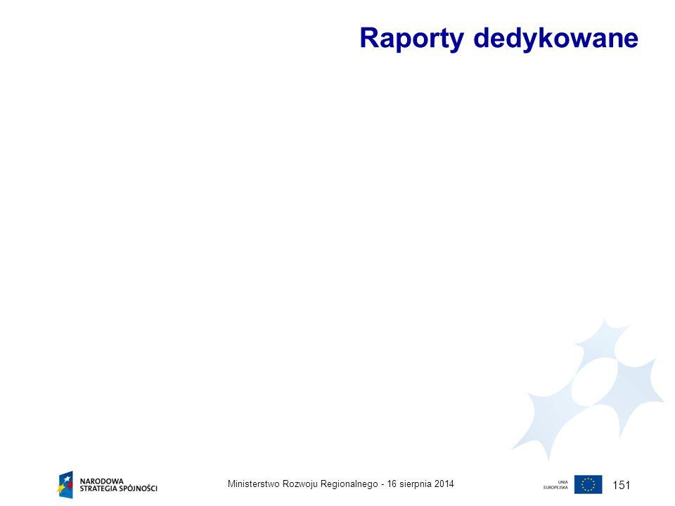 16 sierpnia 2014Ministerstwo Rozwoju Regionalnego - 151 Raporty dedykowane
