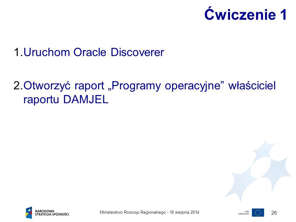 """16 sierpnia 2014Ministerstwo Rozwoju Regionalnego - 26 Ćwiczenie 1 1.Uruchom Oracle Discoverer 2.Otworzyć raport """"Programy operacyjne"""" właściciel rapo"""