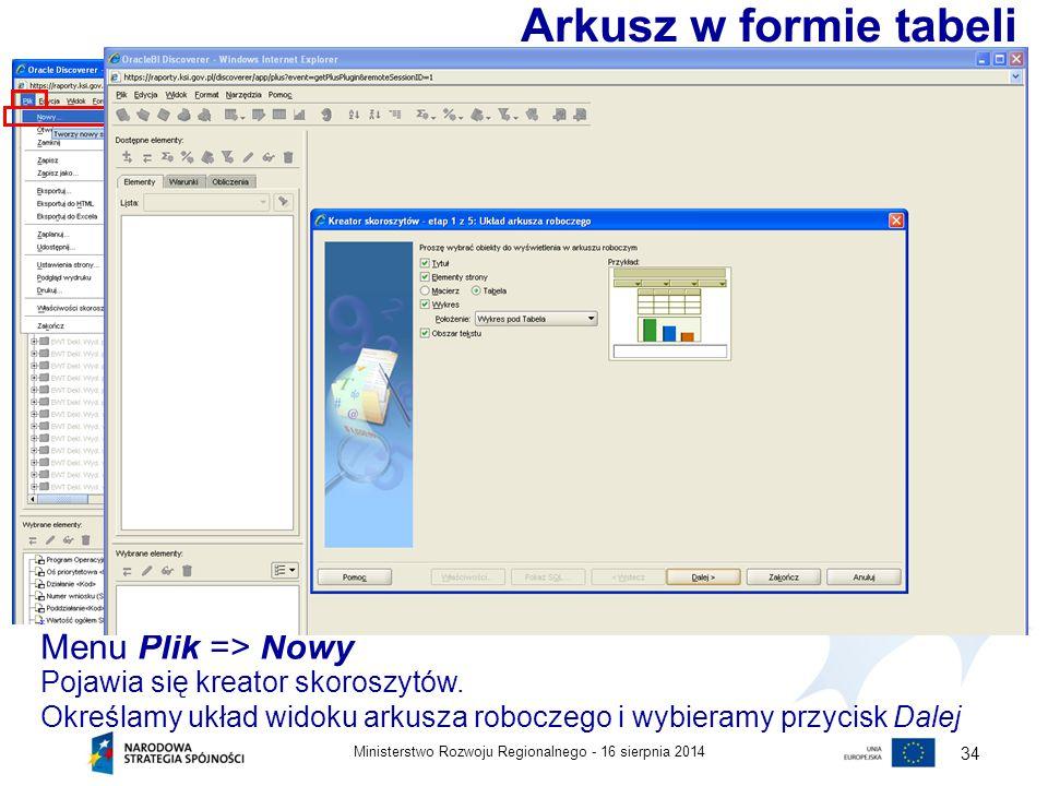 16 sierpnia 2014Ministerstwo Rozwoju Regionalnego - 34 Menu Plik => Nowy Arkusz w formie tabeli Pojawia się kreator skoroszytów. Określamy układ widok