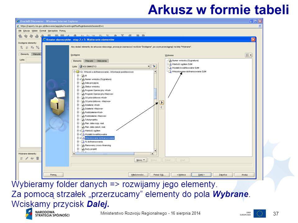 """16 sierpnia 2014Ministerstwo Rozwoju Regionalnego - 37 Wybieramy folder danych => rozwijamy jego elementy. Za pomocą strzałek """"przerzucamy"""" elementy d"""