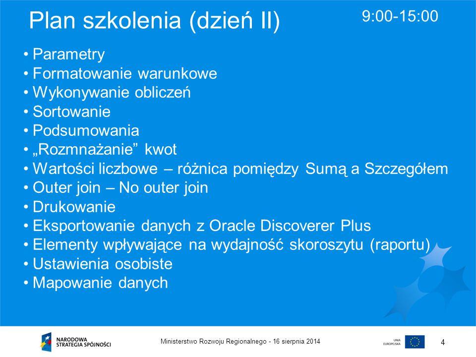 16 sierpnia 2014Ministerstwo Rozwoju Regionalnego - 4 Plan szkolenia (dzień II) 9:00-15:00 Parametry Formatowanie warunkowe Wykonywanie obliczeń Sorto