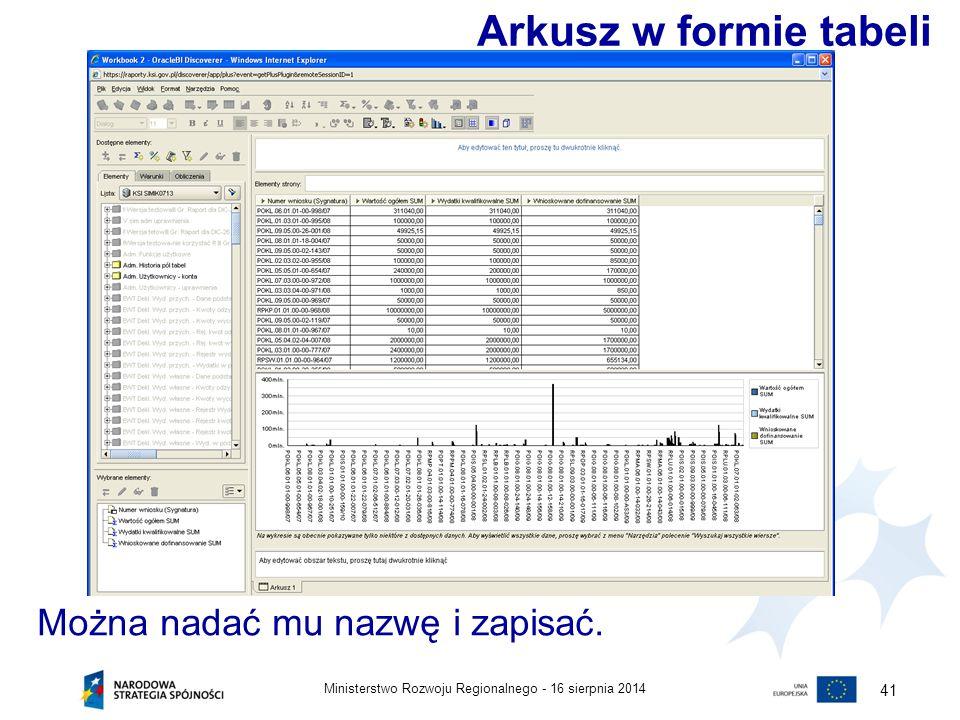 16 sierpnia 2014Ministerstwo Rozwoju Regionalnego - 41 Można nadać mu nazwę i zapisać. Arkusz w formie tabeli