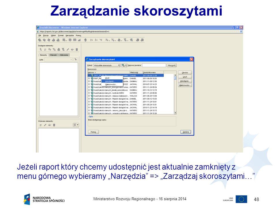 16 sierpnia 2014Ministerstwo Rozwoju Regionalnego - 48 Zarządzanie skoroszytami Jeżeli raport który chcemy udostępnić jest aktualnie zamknięty z menu