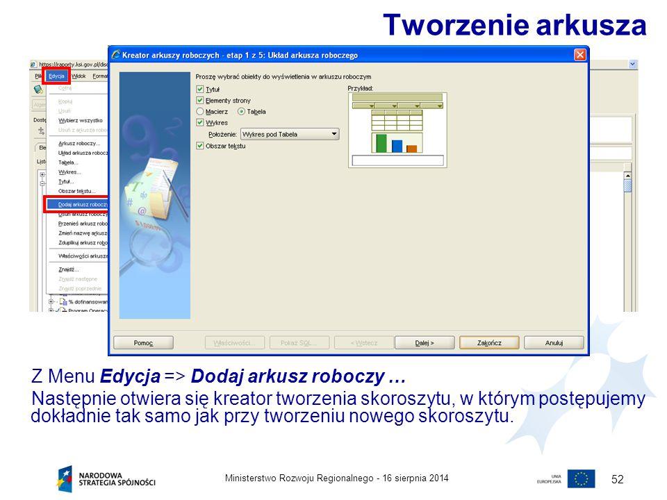16 sierpnia 2014Ministerstwo Rozwoju Regionalnego - 52 Tworzenie arkusza Z Menu Edycja => Dodaj arkusz roboczy … Następnie otwiera się kreator tworzen