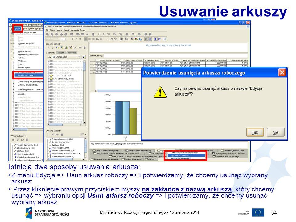 16 sierpnia 2014Ministerstwo Rozwoju Regionalnego - 54 Istnieją dwa sposoby usuwania arkusza: Z menu Edycja => Usuń arkusz roboczy => i potwierdzamy,