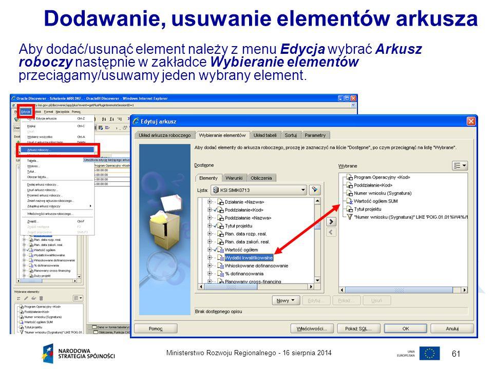 16 sierpnia 2014Ministerstwo Rozwoju Regionalnego - 61 Aby dodać/usunąć element należy z menu Edycja wybrać Arkusz roboczy następnie w zakładce Wybier