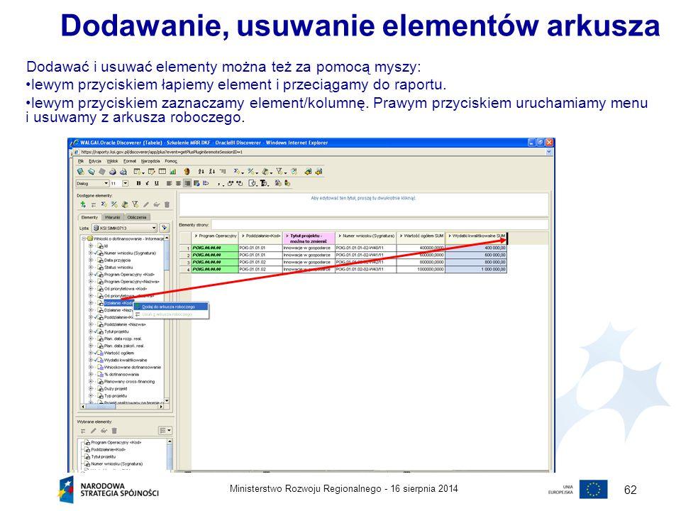 16 sierpnia 2014Ministerstwo Rozwoju Regionalnego - 62 Dodawać i usuwać elementy można też za pomocą myszy: lewym przyciskiem łapiemy element i przeci