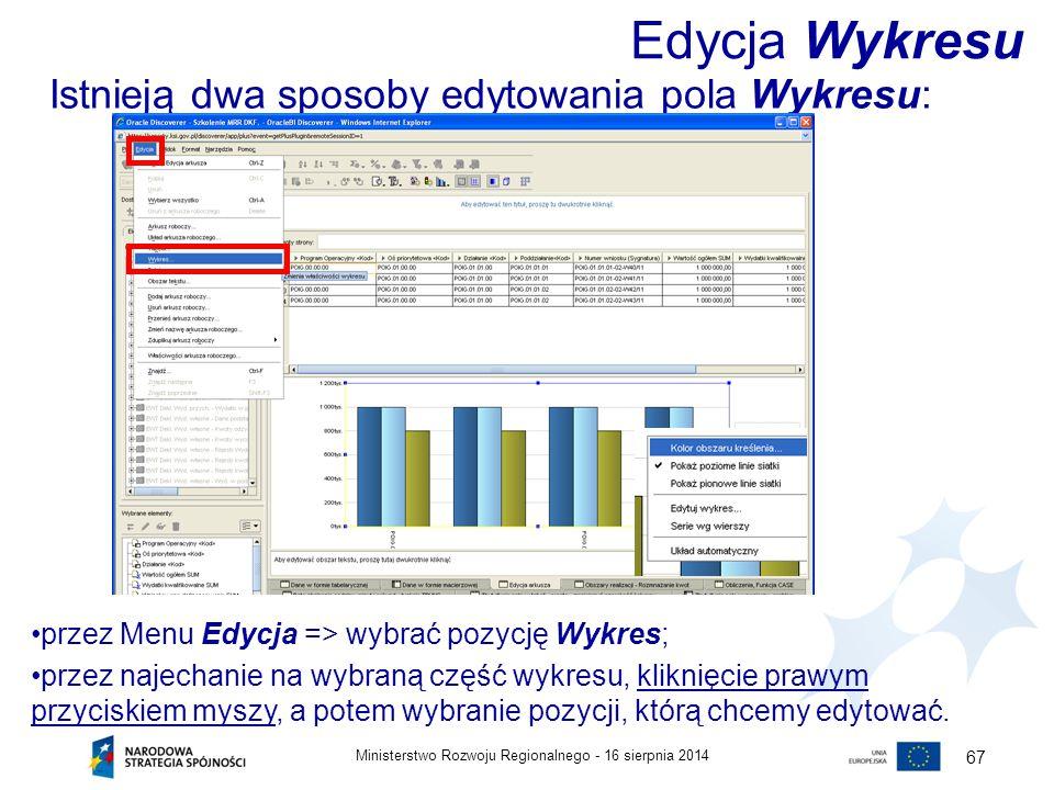 16 sierpnia 2014Ministerstwo Rozwoju Regionalnego - 67 Istnieją dwa sposoby edytowania pola Wykresu: Edycja Wykresu przez Menu Edycja => wybrać pozycj