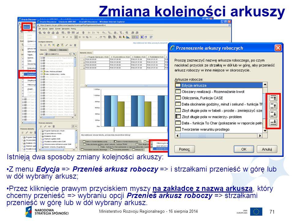 16 sierpnia 2014Ministerstwo Rozwoju Regionalnego - 71 Istnieją dwa sposoby zmiany kolejności arkuszy: Z menu Edycja => Przenieś arkusz roboczy => i s
