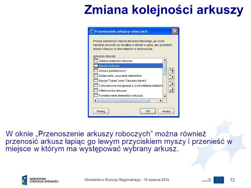 """16 sierpnia 2014Ministerstwo Rozwoju Regionalnego - 72 W oknie """"Przenoszenie arkuszy roboczych"""" można również przenosić arkusz łapiąc go lewym przycis"""