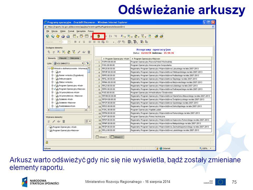 16 sierpnia 2014Ministerstwo Rozwoju Regionalnego - 75 Odświeżanie arkuszy Arkusz warto odświeżyć gdy nic się nie wyświetla, bądź zostały zmieniane el