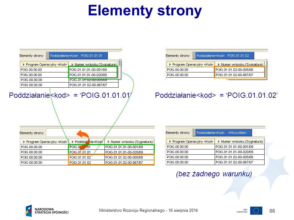 16 sierpnia 2014Ministerstwo Rozwoju Regionalnego - 88 Elementy strony Poddziałanie = 'POIG.01.01.01'Poddziałanie = 'POIG.01.01.02' (bez żadnego warun