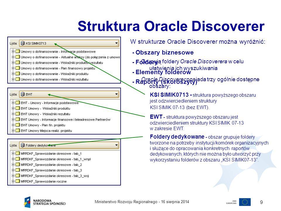 16 sierpnia 2014Ministerstwo Rozwoju Regionalnego - 9 Struktura Oracle Discoverer W strukturze Oracle Discoverer można wyróżnić: - Obszary biznesowe G