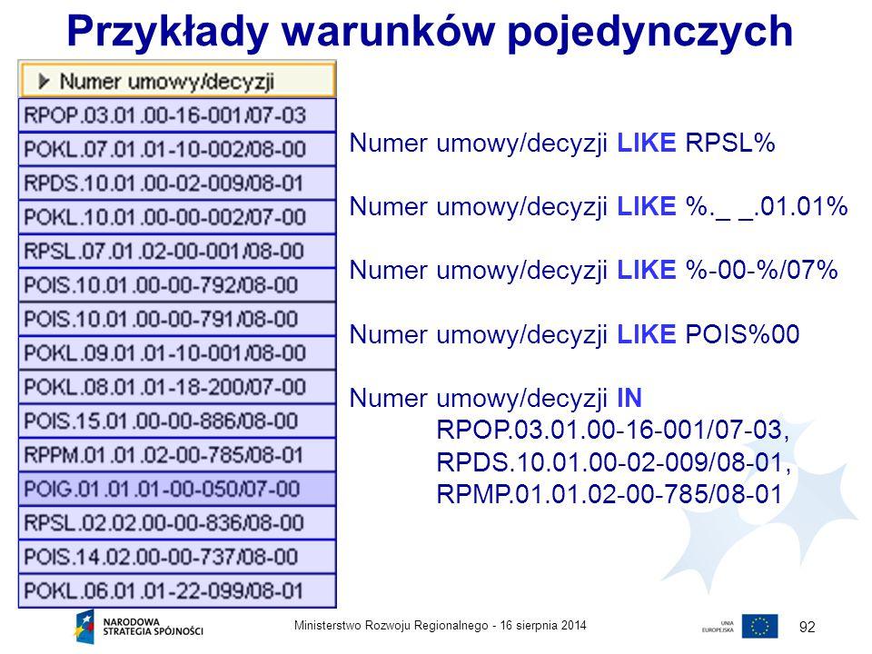 16 sierpnia 2014Ministerstwo Rozwoju Regionalnego - 92 Numer umowy/decyzji LIKE RPSL% Numer umowy/decyzji LIKE %._ _.01.01% Numer umowy/decyzji LIKE %