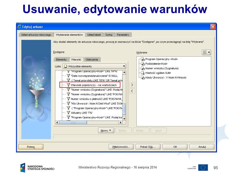 16 sierpnia 2014Ministerstwo Rozwoju Regionalnego - 95 Usuwanie, edytowanie warunków