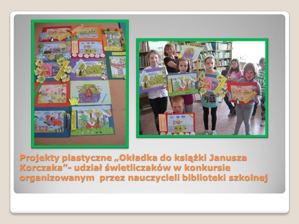 """Projekty plastyczne """"Okładka do książki Janusza Korczaka""""- udział świetliczaków w konkursie organizowanym przez nauczycieli biblioteki szkolnej"""
