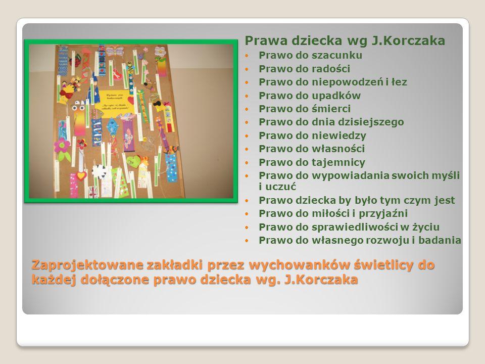 Zaprojektowane zakładki przez wychowanków świetlicy do każdej dołączone prawo dziecka wg. J.Korczaka Prawa dziecka wg J.Korczaka Prawo do szacunku Pra