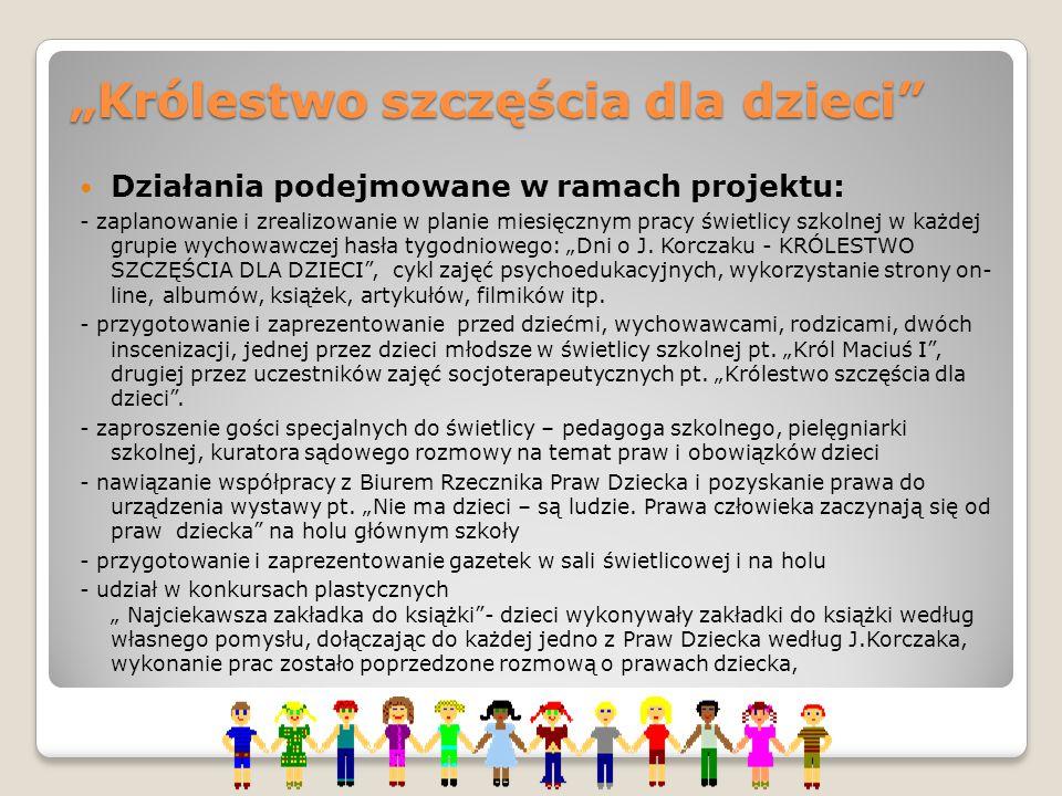 """""""Królestwo szczęścia dla dzieci"""" Działania podejmowane w ramach projektu: - zaplanowanie i zrealizowanie w planie miesięcznym pracy świetlicy szkolnej"""