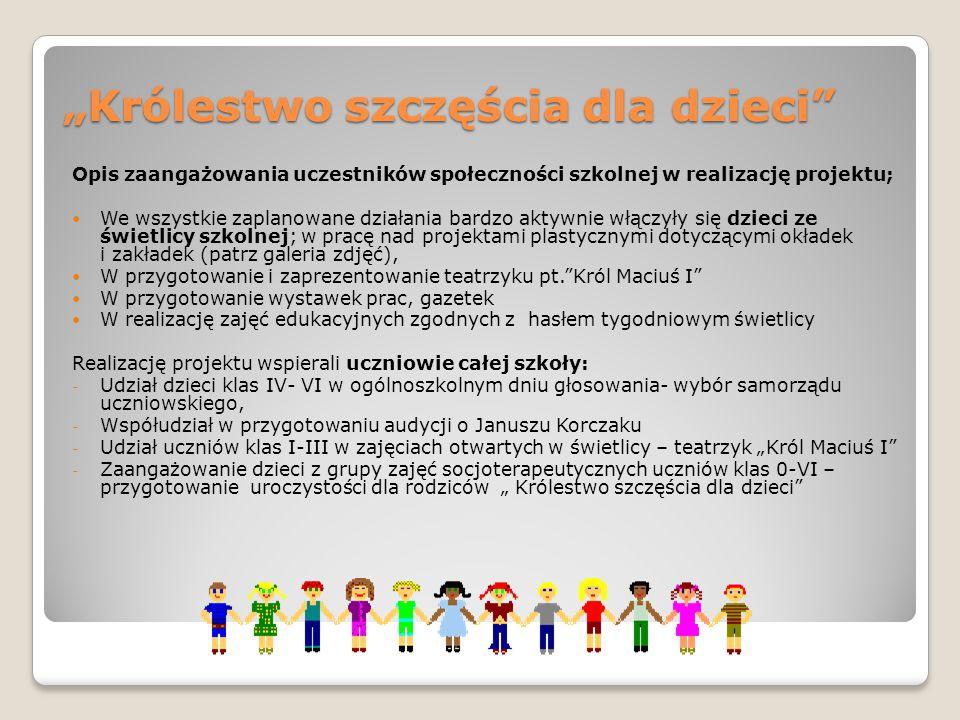 """""""Królestwo szczęścia dla dzieci"""" Opis zaangażowania uczestników społeczności szkolnej w realizację projektu; We wszystkie zaplanowane działania bardzo"""