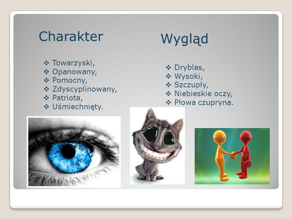 Charakter  Towarzyski,  Opanowany,  Pomocny,  Zdyscyplinowany,  Patriota,  Uśmiechnięty. Wygląd  Dryblas,  Wysoki,  Szczupły,  Niebieskie oc