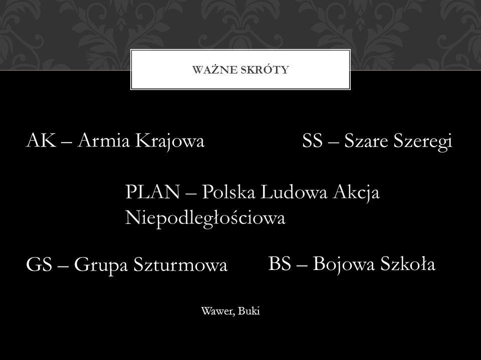 WAŻNE SKRÓTY PLAN – Polska Ludowa Akcja Niepodległościowa AK – Armia Krajowa GS – Grupa Szturmowa SS – Szare Szeregi BS – Bojowa Szkoła Wawer, Buki