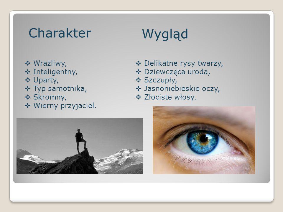 Charakter  Wrażliwy,  Inteligentny,  Uparty,  Typ samotnika,  Skromny,  Wierny przyjaciel. Wygląd  Delikatne rysy twarzy,  Dziewczęca uroda, 