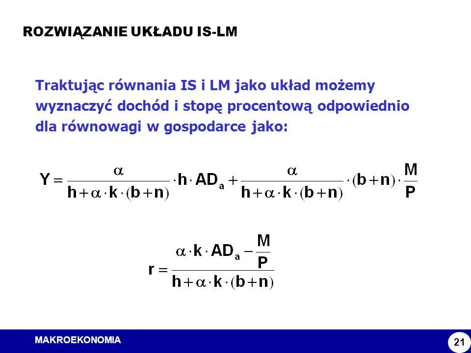 MAKROEKONOMIA Model ISLM ROZWIĄZANIE UKŁADU IS-LM 21 Traktując równania IS i LM jako układ możemy wyznaczyć dochód i stopę procentową odpowiednio dla