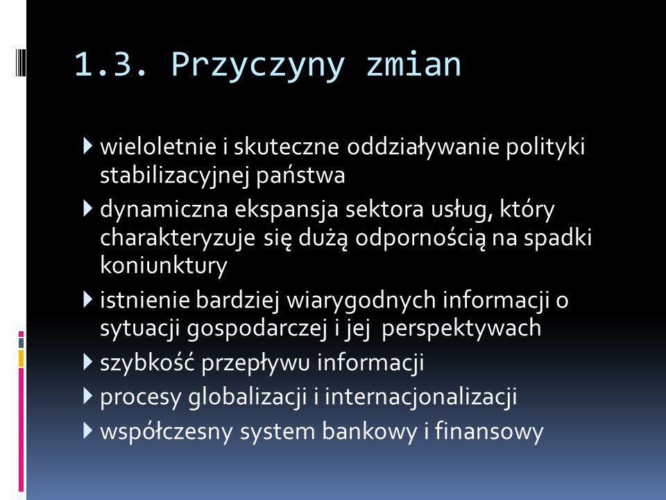 1.3. Przyczyny zmian  wieloletnie i skuteczne oddziaływanie polityki stabilizacyjnej państwa  dynamiczna ekspansja sektora usług, który charakteryzu