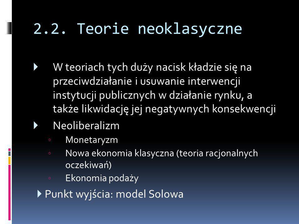 2.2. Teorie neoklasyczne  W teoriach tych duży nacisk kładzie się na przeciwdziałanie i usuwanie interwencji instytucji publicznych w działanie rynku