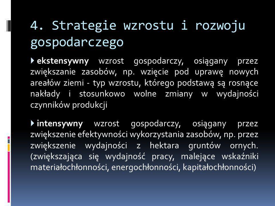 4. Strategie wzrostu i rozwoju gospodarczego  ekstensywny wzrost gospodarczy, osiągany przez zwiększanie zasobów, np. wzięcie pod uprawę nowych areał