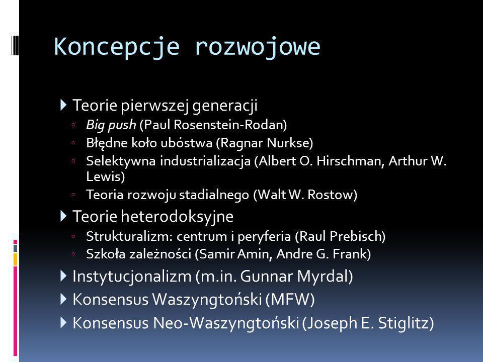Koncepcje rozwojowe  Teorie pierwszej generacji ◦ Big push (Paul Rosenstein-Rodan) ◦ Błędne koło ubóstwa (Ragnar Nurkse) ◦ Selektywna industrializacj