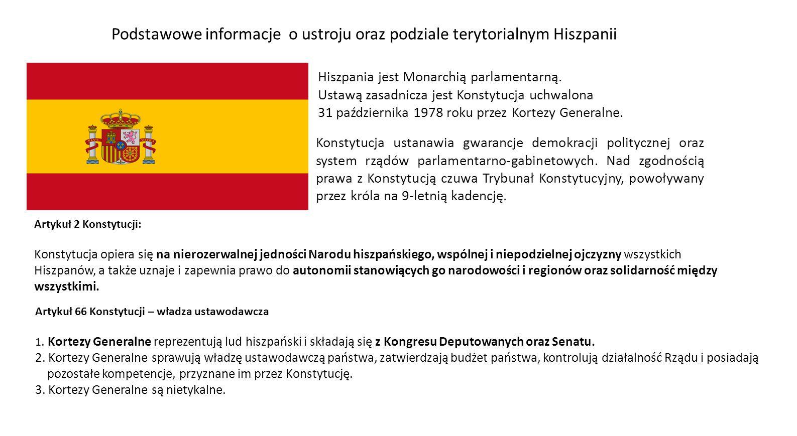 Hiszpania jest Monarchią parlamentarną. Ustawą zasadnicza jest Konstytucja uchwalona 31 października 1978 roku przez Kortezy Generalne. Artykuł 2 Kons