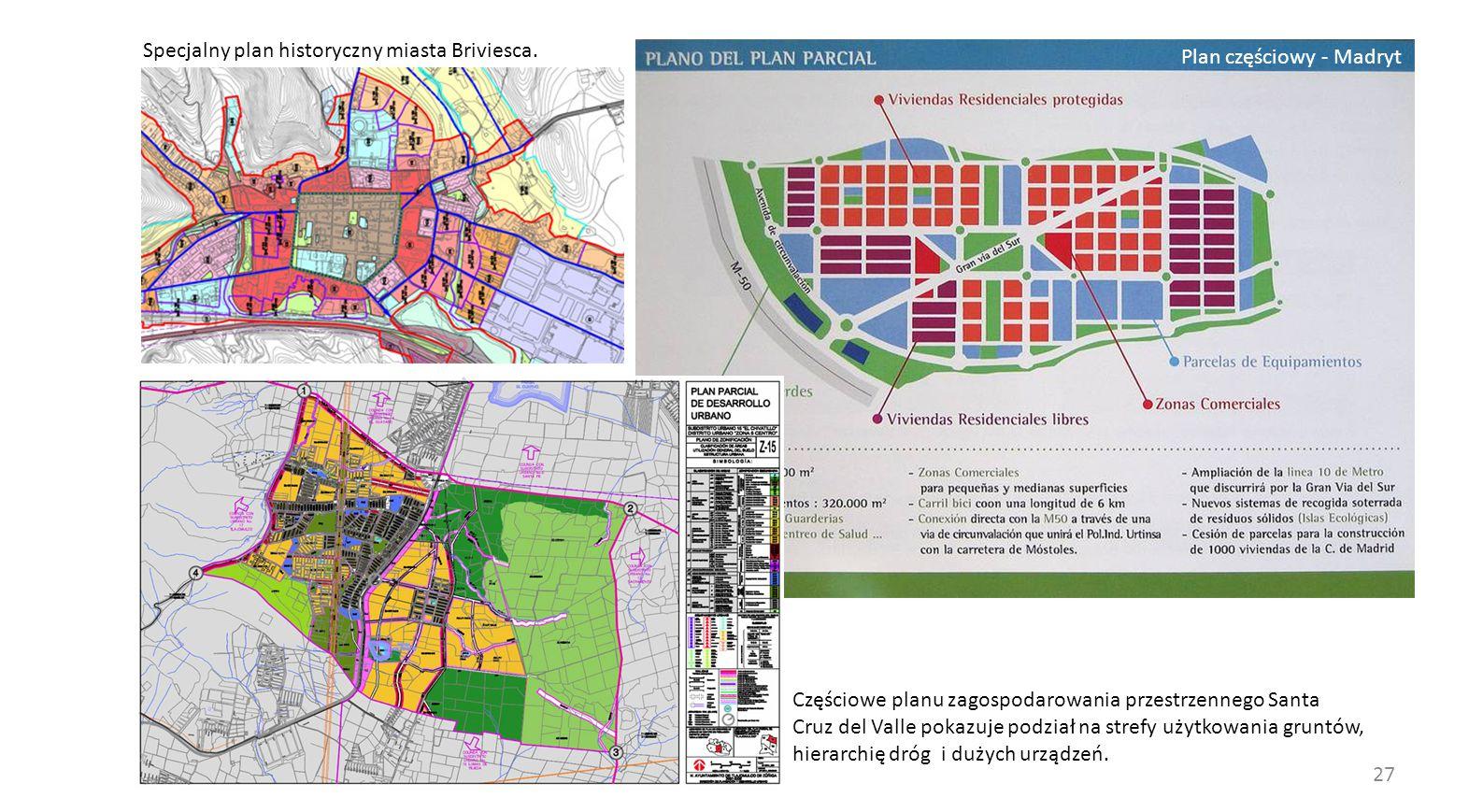 27 Specjalny plan historyczny miasta Briviesca. Plan częściowy - Madryt Częściowe planu zagospodarowania przestrzennego Santa Cruz del Valle pokazuje