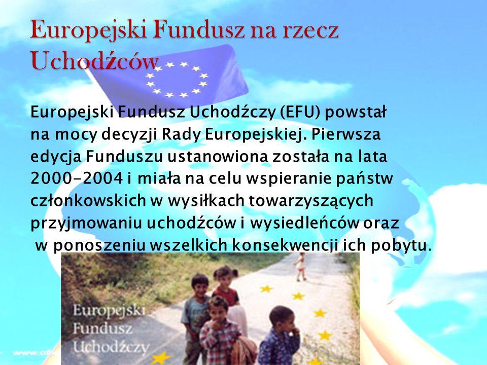 Europejski Fundusz Uchodźczy (EFU) powstał na mocy decyzji Rady Europejskiej. Pierwsza edycja Funduszu ustanowiona została na lata 2000-2004 i miała n