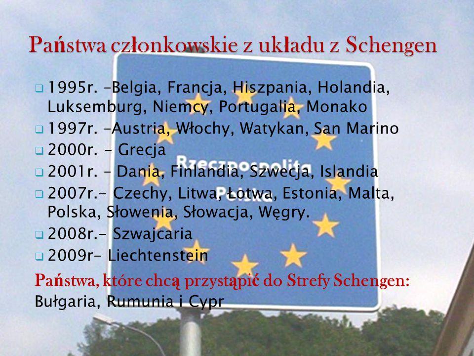  1995r. –Belgia, Francja, Hiszpania, Holandia, Luksemburg, Niemcy, Portugalia, Monako  1997r. –Austria, Włochy, Watykan, San Marino  2000r. - Grecj