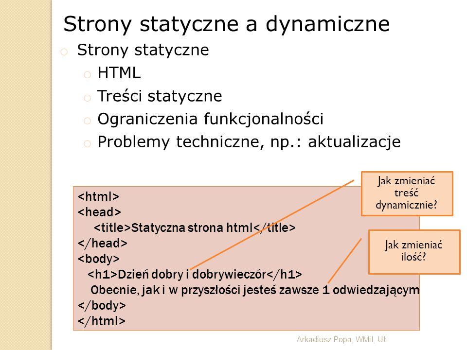 Strony statyczne a dynamiczne o Strony statyczne o HTML o Treści statyczne o Ograniczenia funkcjonalności o Problemy techniczne, np.: aktualizacje Sta