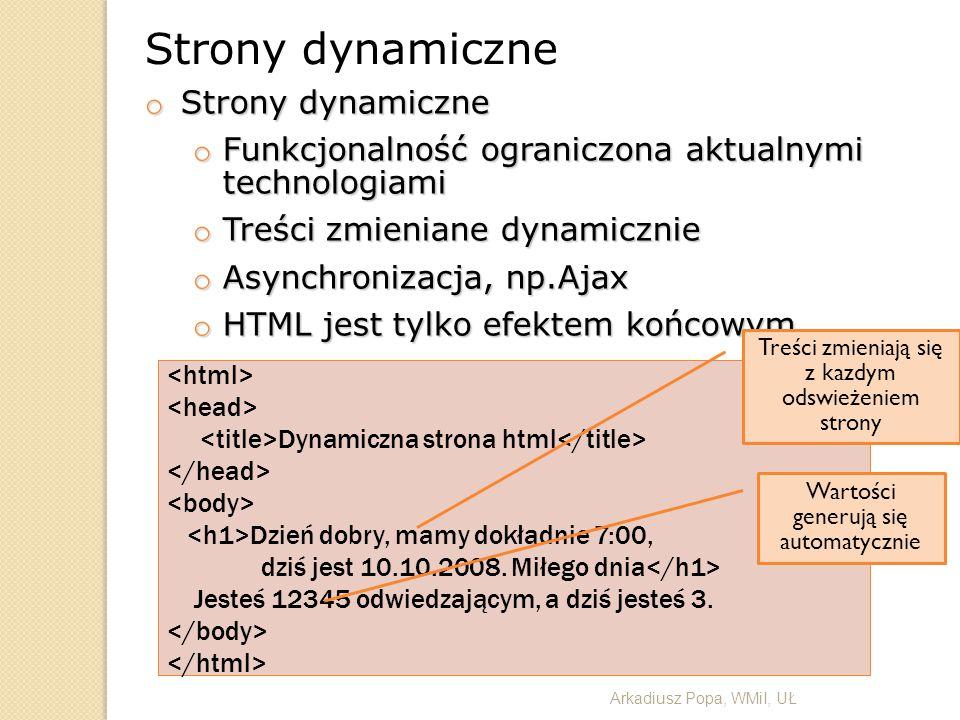 Strony dynamiczne o Strony dynamiczne o Funkcjonalność ograniczona aktualnymi technologiami o Treści zmieniane dynamicznie o Asynchronizacja, np.Ajax