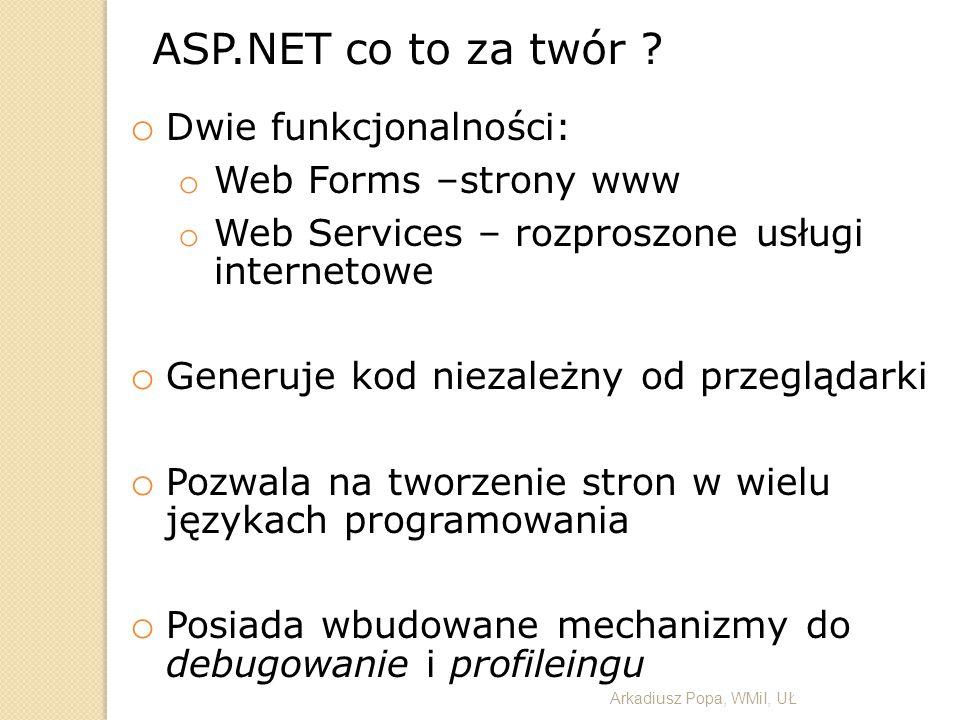 o Dwie funkcjonalności: o Web Forms –strony www o Web Services – rozproszone usługi internetowe o Generuje kod niezależny od przeglądarki o Pozwala na