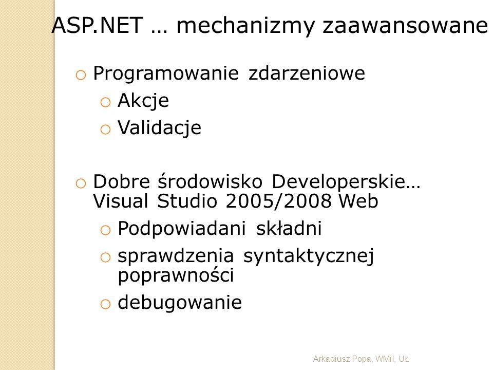 ASP.NET … mechanizmy zaawansowane o Programowanie zdarzeniowe o Akcje o Validacje o Dobre środowisko Developerskie… Visual Studio 2005/2008 Web o Podp