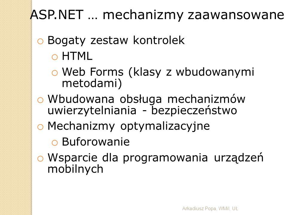 o Bogaty zestaw kontrolek o HTML o Web Forms (klasy z wbudowanymi metodami) o Wbudowana obsługa mechanizmów uwierzytelniania - bezpieczeństwo o Mechan